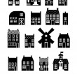 Set of urban homes in black and white color palette — Stock Vector #49917589