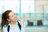 Business woman pointing — Stock Photo