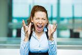 Screaming businesswoman — Stock Photo