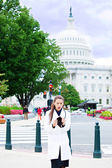 Broke doctor in front of DC Capitol — Stock Photo