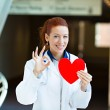 Doctor holding heart giving ok sign — Stock Photo #48281513