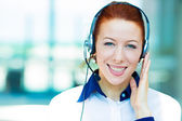 Customer service representative with hands free device — Stock Photo