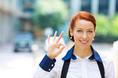 Business woman giving ok sign  — Stock Photo
