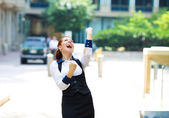 Businesswoman celebrating success  — 图库照片
