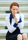 Happy woman on coffee break — Stock Photo