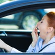 Sleepy fatigued driver, driving car — Stock Photo #48568293