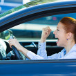 Angry, screaming female car driver — Stock Photo #48568323