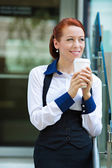 Happy lawyer drinking coffee — Stock Photo
