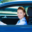 Happy car driver woman smiling — Stock Photo #48649573