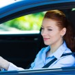 Happy car driver woman smiling — Stock Photo #48649575