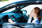 Woman reckless driving — Stock Photo
