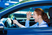 Angry female driver — Stock Photo