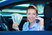 Excited woman bought new car — Stock Photo