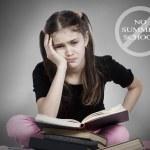 Stressed, tired, overwhelmed little girl, student, pupil — Stock Photo #48693341