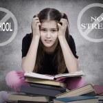 Stressed, tired, overwhelmed little girl, student, pupil — Stock Photo #48693357