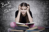 Stressed, tired, overwhelmed little girl, student, pupil — Photo