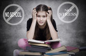 Stressed, tired, overwhelmed little girl, student, pupil — Stock fotografie