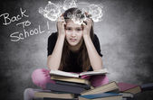 Stressed, tired, overwhelmed little girl, student, pupil — Foto Stock
