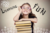 Happy, smiling excited young school student — Stock Photo