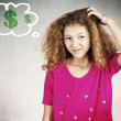 Little girl scratching head thinking how to make money — Stock Photo #48952213