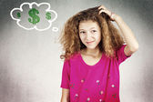 Little girl scratching head thinking how to make money — Foto Stock