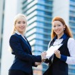 Businesswomen signing contract document — Stock Photo #49359203