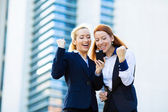 Happy businesswomen celebrating success  — 图库照片