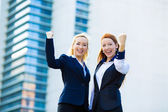 Two ecstatic business woman celebrating success — Stock Photo