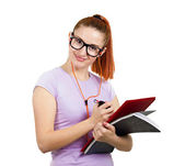 Happy student holding books, listening on music — Stock Photo