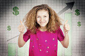 Happy teen girl excited about good economy, giving thumbs up — Stock Photo