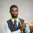Funny looking man trying not to eat sweet cookie — Stock Photo #50123817