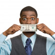 Shocked man with dollar bill curency covering his mouth — Stock Photo #50270969