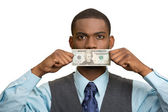 Bribery man with dollar bill on his mouth — Stock Photo