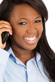 Happy woman talking on smart phone — Foto Stock