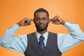 Man Closing Ears Avoiding Unpleasant Conversation, Situation — Stock Photo