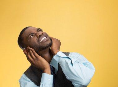 Upset man asking neighbor to stop making loud noise