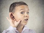 Nosy little boy, man listening carefully to someone's secrets — Stock Photo