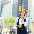 Business woman on smart phone in New York City, Manhattan — Stok fotoğraf
