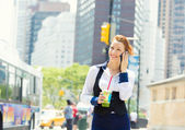 Business woman on smart phone in New York City, Manhattan — Stock Photo
