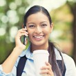Happy woman talking on smart phone — Stock Photo #51263291