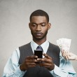 Busines man using smart phone, while offered financial reward — Stock Photo #51263785