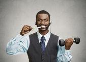 Busy man multitasking — Stock Photo