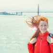 Happy woman tourist in San Francisco with Golden Gate Bridge bac — Stock Photo #51627895