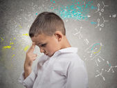Genius boy solving science problem — Stock Photo