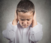 Boy Covers his Ears, hear no evil concept — Stock Photo