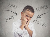 Boy bullied at school, home — Stock Photo