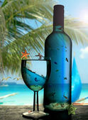 Tropical paradise, travel in a bottle — Stock Photo
