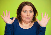 Shocked scared middle aged woman  — Stock Photo