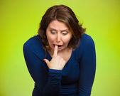 Sick woman sticking finger in throat, vomiting — Stock Photo