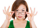 Woman holding eye glasses frame — Stockfoto